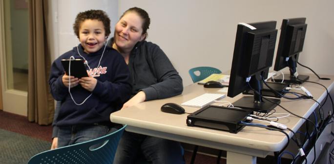 mom & son at computer